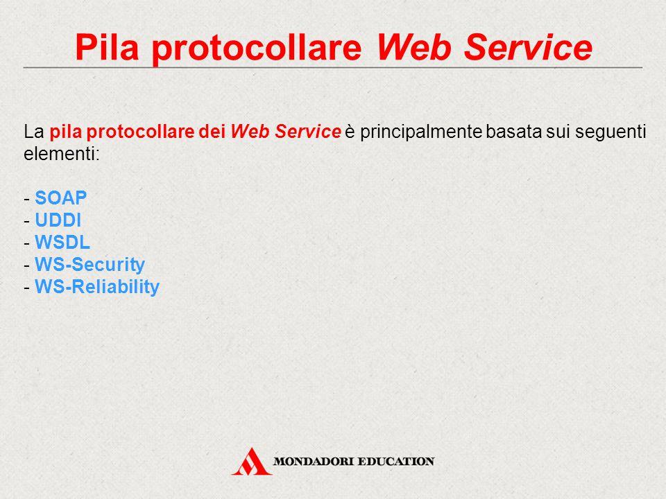 Pila protocollare Web Service La pila protocollare dei Web Service è principalmente basata sui seguenti elementi: - SOAP - UDDI - WSDL - WS-Security - WS-Reliability