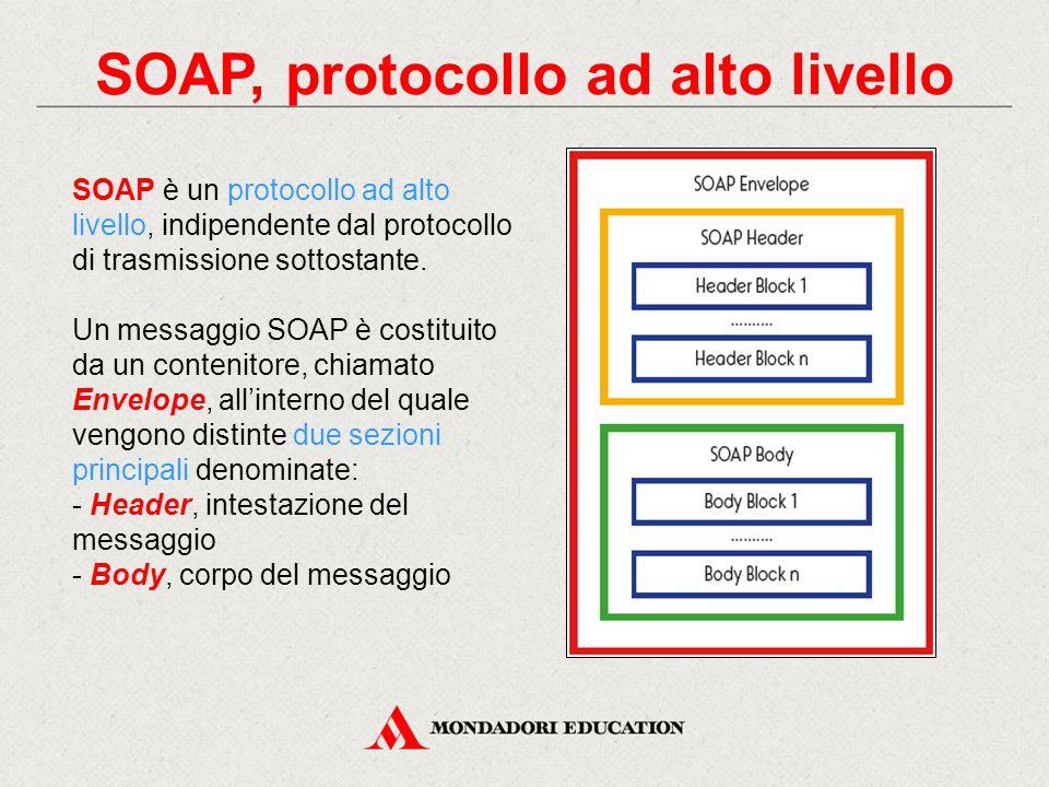 SOAP, protocollo ad alto livello SOAP è un protocollo ad alto livello, indipendente dal protocollo di trasmissione sottostante. Un messaggio SOAP è co