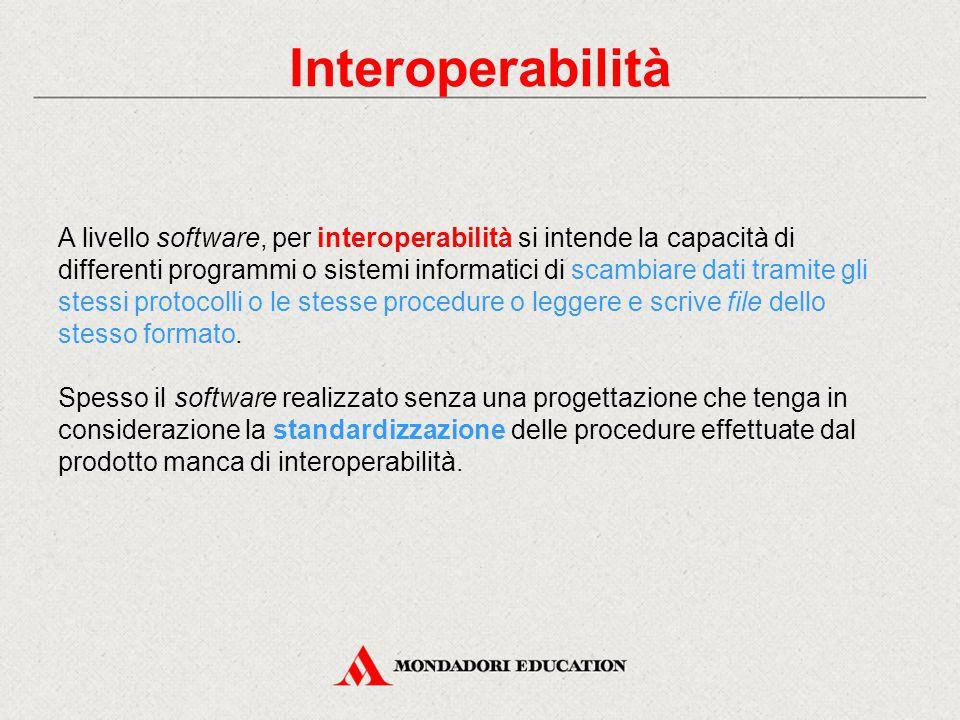 Interoperabilità A livello software, per interoperabilità si intende la capacità di differenti programmi o sistemi informatici di scambiare dati tramite gli stessi protocolli o le stesse procedure o leggere e scrive file dello stesso formato.
