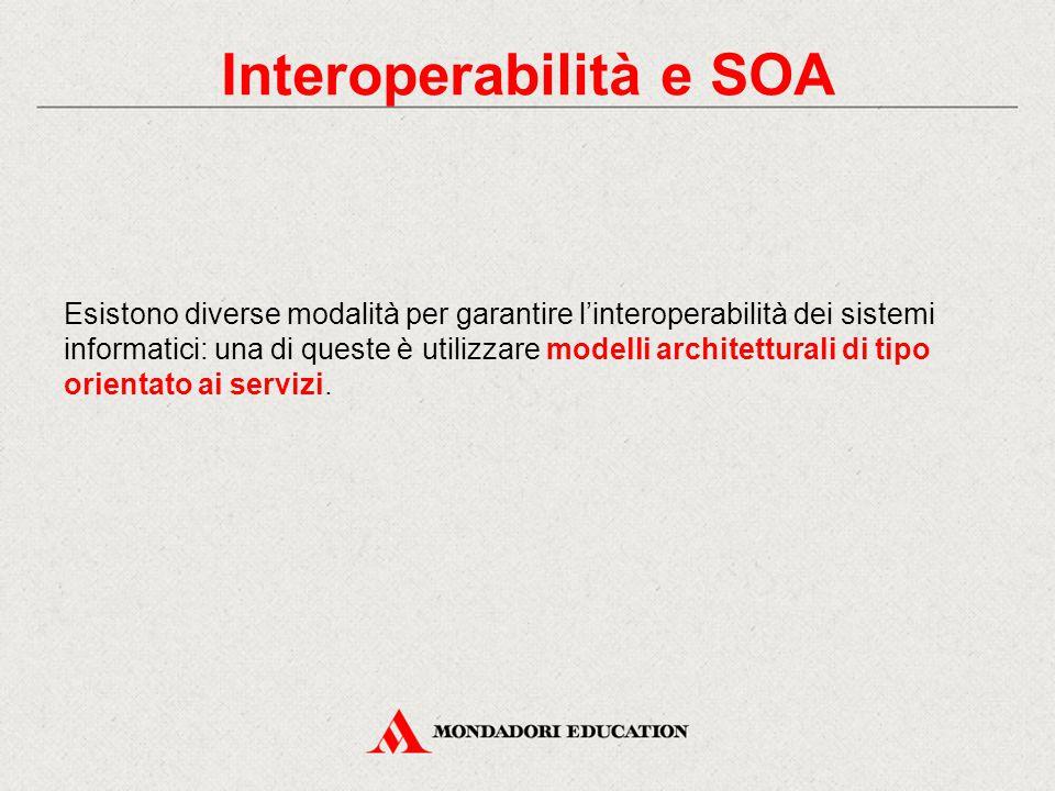 Interoperabilità e SOA Esistono diverse modalità per garantire l'interoperabilità dei sistemi informatici: una di queste è utilizzare modelli architetturali di tipo orientato ai servizi.