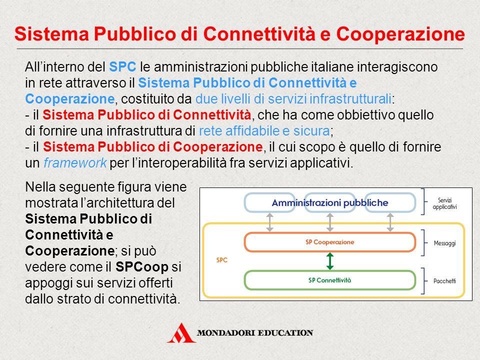 Sistema Pubblico di Connettività e Cooperazione All'interno del SPC le amministrazioni pubbliche italiane interagiscono in rete attraverso il Sistema Pubblico di Connettività e Cooperazione, costituito da due livelli di servizi infrastrutturali: - il Sistema Pubblico di Connettività, che ha come obbiettivo quello di fornire una infrastruttura di rete affidabile e sicura; - il Sistema Pubblico di Cooperazione, il cui scopo è quello di fornire un framework per l'interoperabilità fra servizi applicativi.