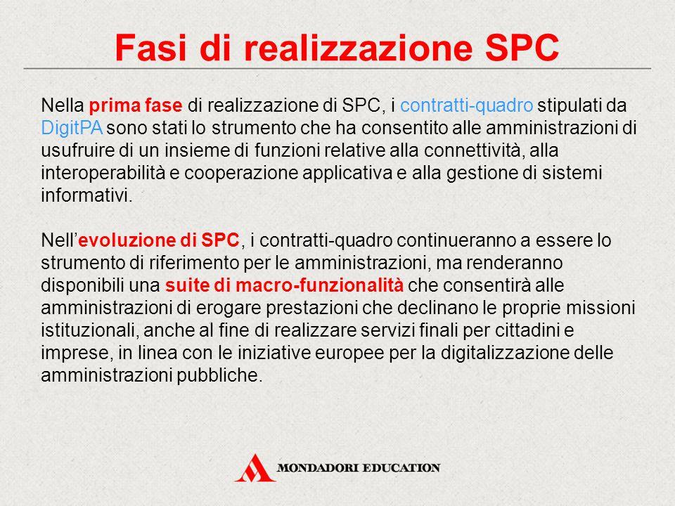 Fasi di realizzazione SPC Nella prima fase di realizzazione di SPC, i contratti-quadro stipulati da DigitPA sono stati lo strumento che ha consentito
