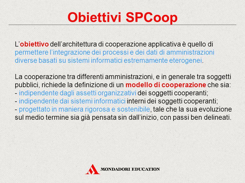Obiettivi SPCoop L'obiettivo dell'architettura di cooperazione applicativa è quello di permettere l'integrazione dei processi e dei dati di amministrazioni diverse basati su sistemi informatici estremamente eterogenei.