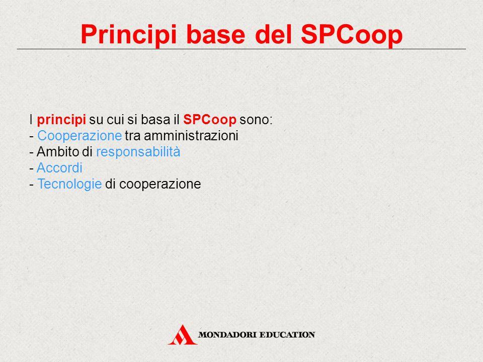 Principi base del SPCoop I principi su cui si basa il SPCoop sono: - Cooperazione tra amministrazioni - Ambito di responsabilità - Accordi - Tecnologie di cooperazione