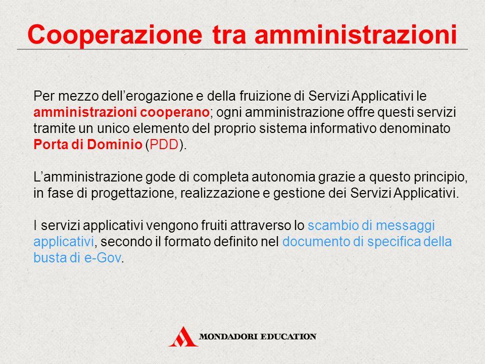 Cooperazione tra amministrazioni Per mezzo dell'erogazione e della fruizione di Servizi Applicativi le amministrazioni cooperano; ogni amministrazione
