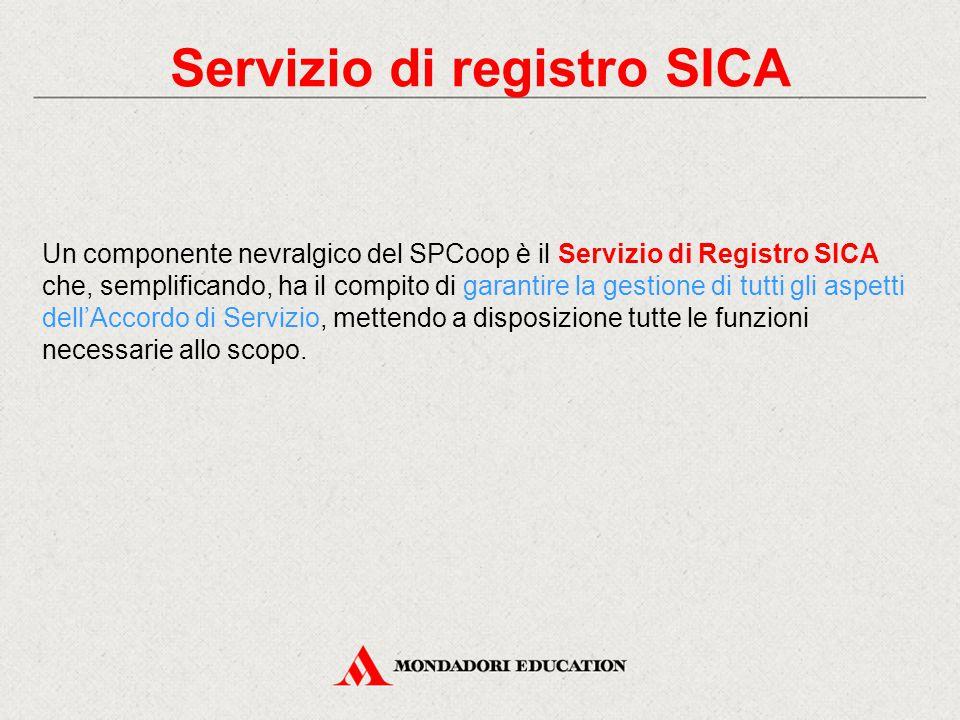 Servizio di registro SICA Un componente nevralgico del SPCoop è il Servizio di Registro SICA che, semplificando, ha il compito di garantire la gestione di tutti gli aspetti dell'Accordo di Servizio, mettendo a disposizione tutte le funzioni necessarie allo scopo.