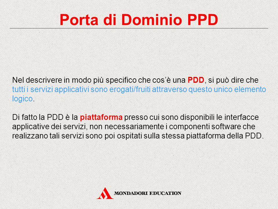 Porta di Dominio PPD Nel descrivere in modo più specifico che cos'è una PDD, si può dire che tutti i servizi applicativi sono erogati/fruiti attraverso questo unico elemento logico.