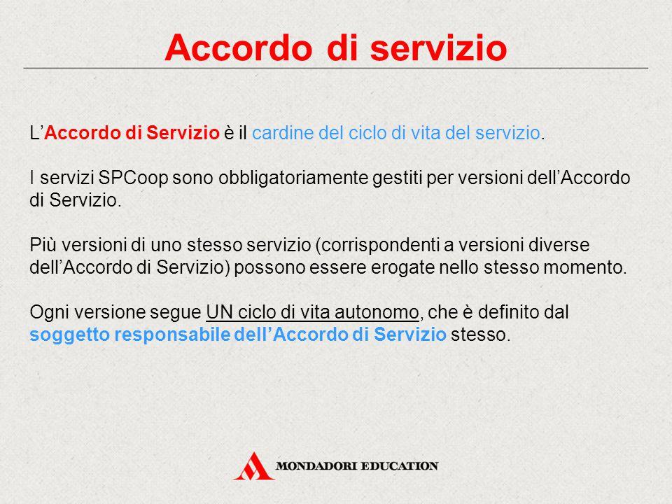 Accordo di servizio L'Accordo di Servizio è il cardine del ciclo di vita del servizio. I servizi SPCoop sono obbligatoriamente gestiti per versioni de