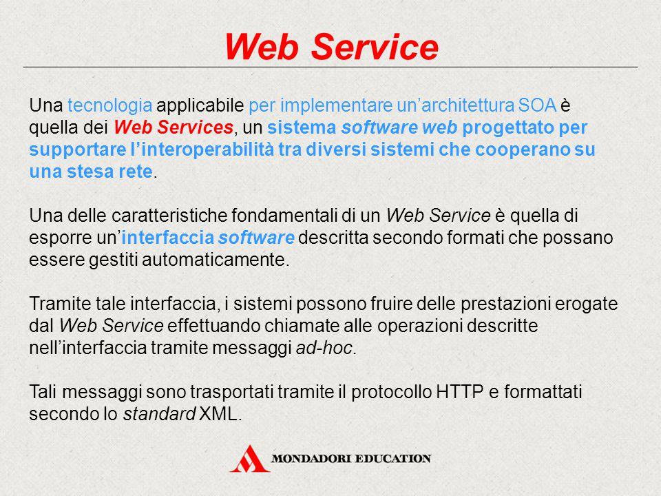 Web Service Una tecnologia applicabile per implementare un'architettura SOA è quella dei Web Services, un sistema software web progettato per supportare l'interoperabilità tra diversi sistemi che cooperano su una stesa rete.
