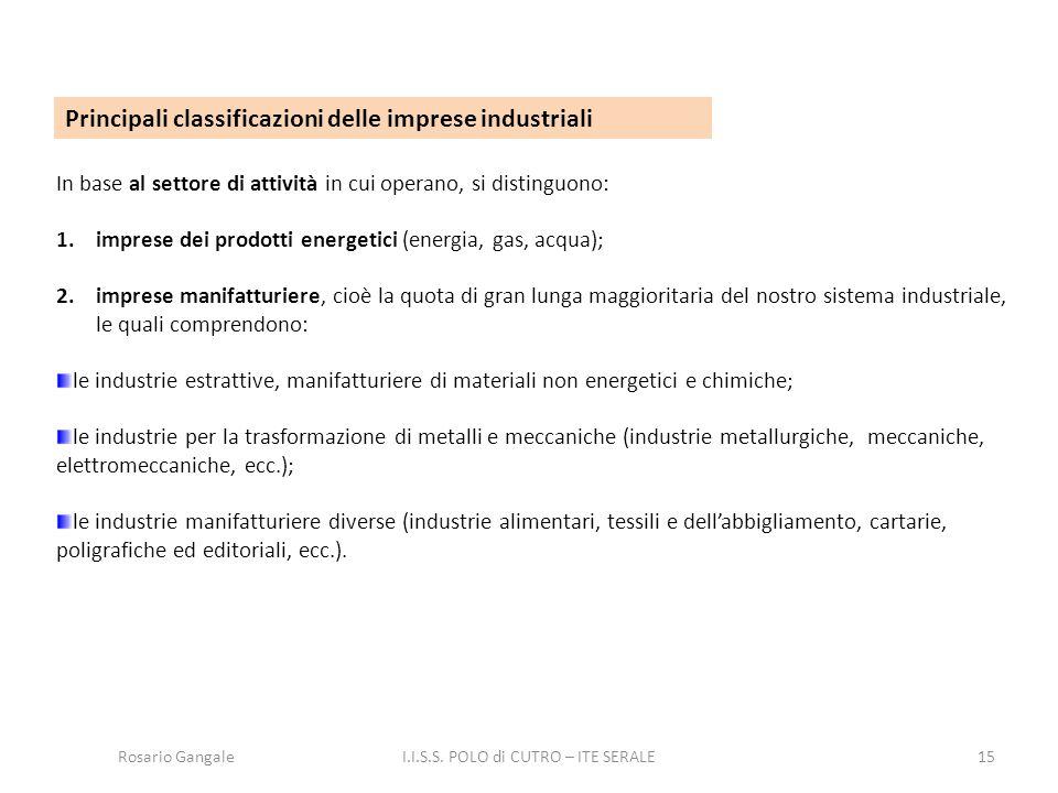 15 Principali classificazioni delle imprese industriali In base al settore di attività in cui operano, si distinguono: 1.imprese dei prodotti energeti