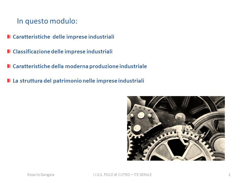 Rosario Gangale2 In questo modulo: Caratteristiche delle imprese industriali Classificazione delle imprese industriali Caratteristiche della moderna p