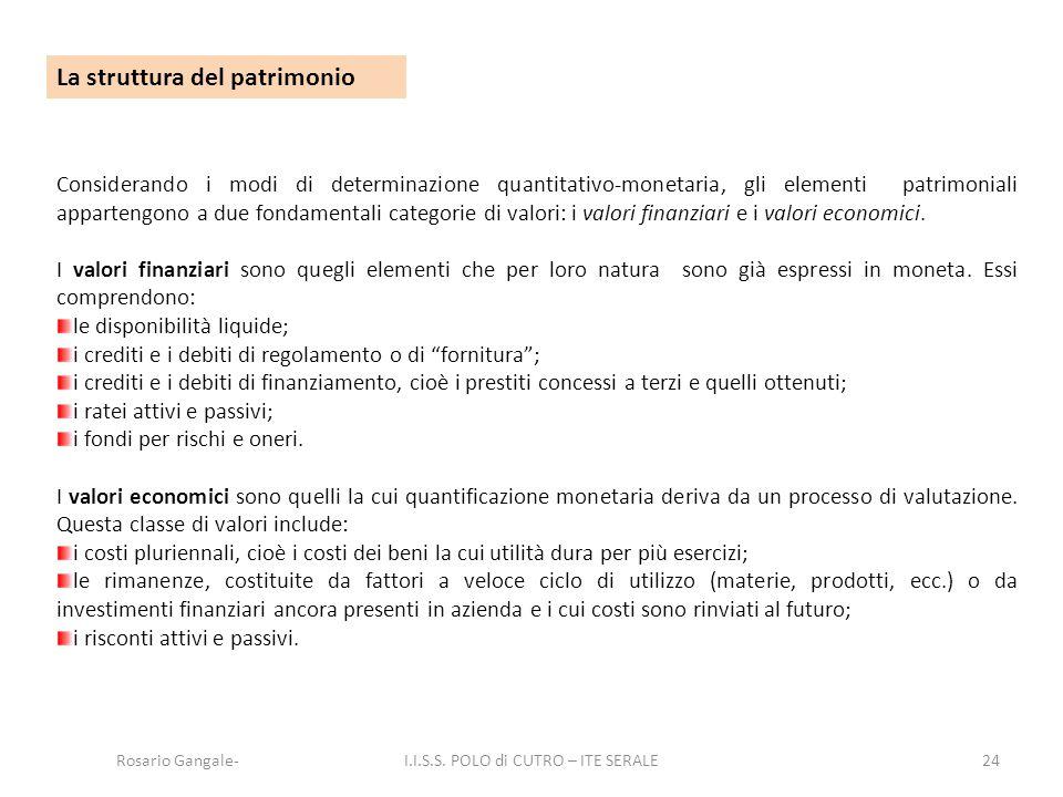 24 La struttura del patrimonio Considerando i modi di determinazione quantitativo-monetaria, gli elementi patrimoniali appartengono a due fondamentali