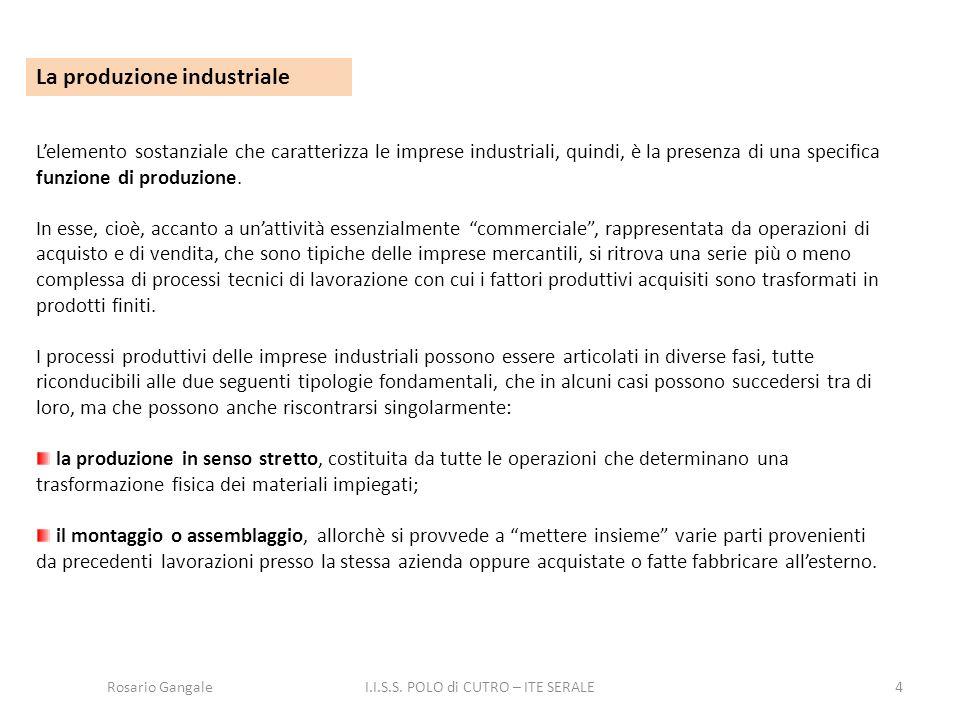 4 La produzione industriale L'elemento sostanziale che caratterizza le imprese industriali, quindi, è la presenza di una specifica funzione di produzi