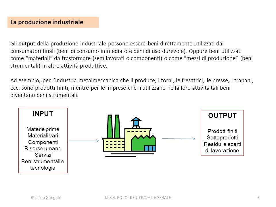 6 La produzione industriale Gli output della produzione industriale possono essere beni direttamente utilizzati dai consumatori finali (beni di consum