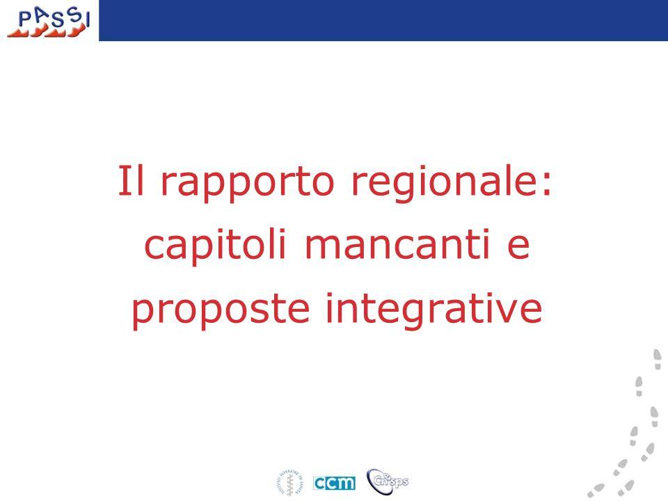 Il rapporto regionale: capitoli mancanti e proposte integrative