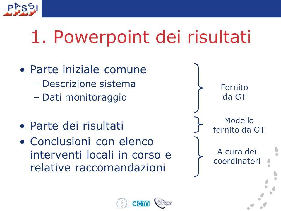 1. Powerpoint dei risultati Parte iniziale comune –Descrizione sistema –Dati monitoraggio Parte dei risultati Conclusioni con elenco interventi locali