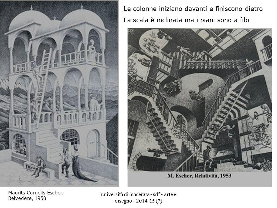 università di macerata - sdf - arte e disegno - 2014-15 (7) Maurits Cornelis Escher, Belvedere, 1958 Le colonne iniziano davanti e finiscono dietro La
