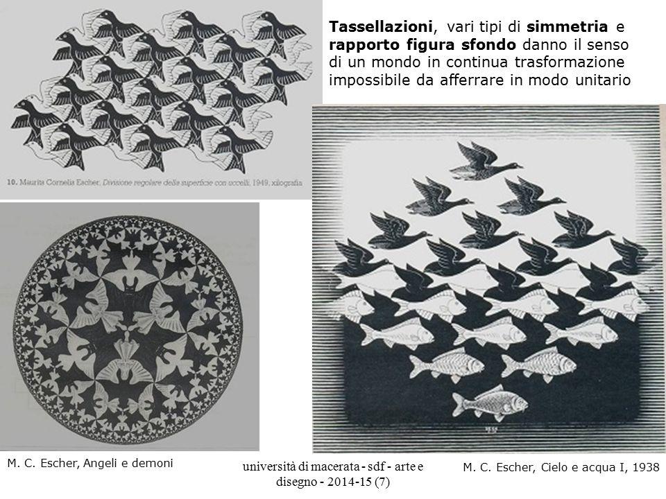 università di macerata - sdf - arte e disegno - 2014-15 (7) Tassellazioni, vari tipi di simmetria e rapporto figura sfondo danno il senso di un mondo