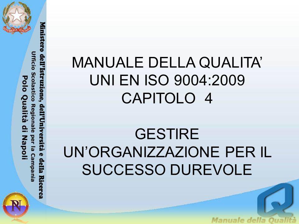 MANUALE DELLA QUALITA' UNI EN ISO 9004:2009 CAPITOLO 4 GESTIRE UN'ORGANIZZAZIONE PER IL SUCCESSO DUREVOLE
