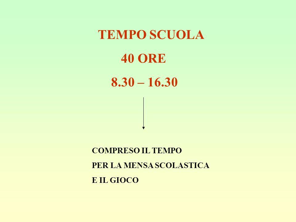 TEMPO SCUOLA 40 ORE 8.30 – 16.30 COMPRESO IL TEMPO PER LA MENSA SCOLASTICA E IL GIOCO