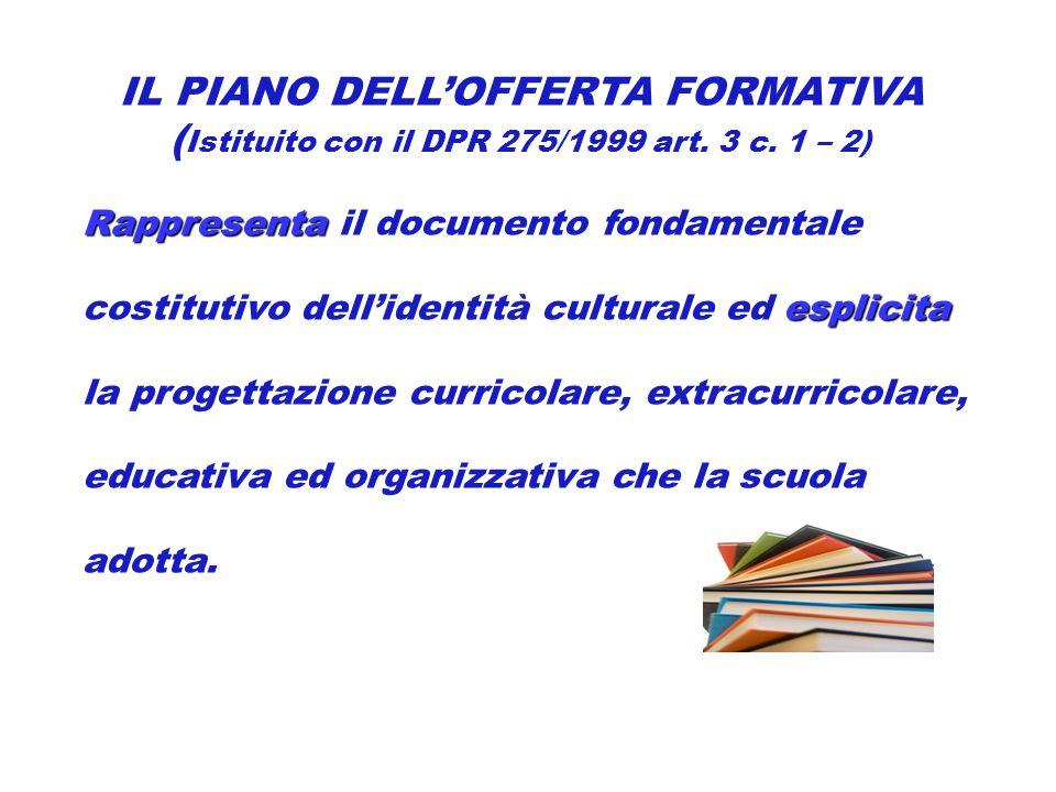 IL PIANO DELL'OFFERTA FORMATIVA ( Istituito con il DPR 275/1999 art.