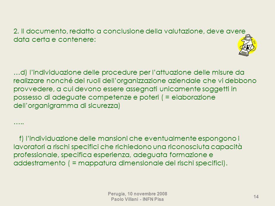 2. Il documento, redatto a conclusione della valutazione, deve avere data certa e contenere: …d) l'individuazione delle procedure per l'attuazione del