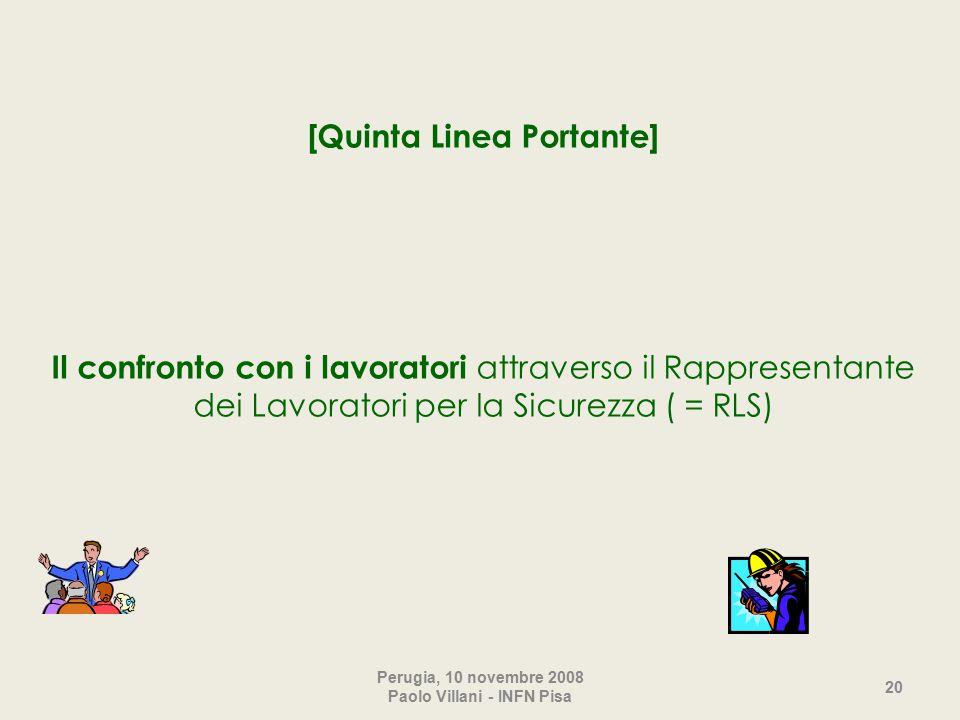 [Quinta Linea Portante] Il confronto con i lavoratori attraverso il Rappresentante dei Lavoratori per la Sicurezza ( = RLS) Perugia, 10 novembre 2008 Paolo Villani - INFN Pisa 20