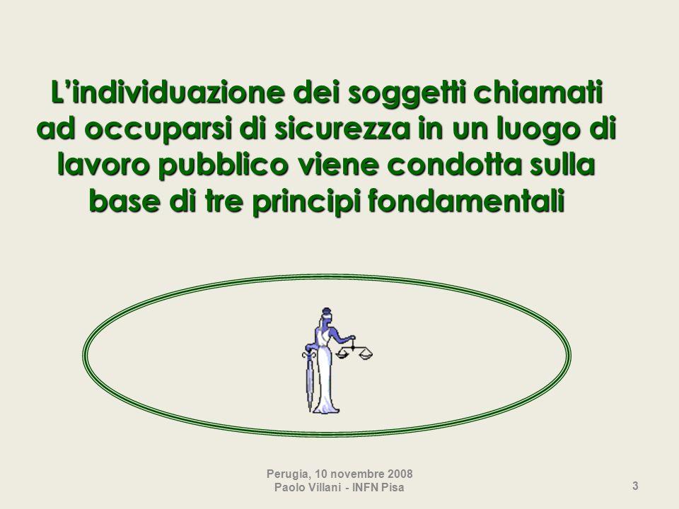3 L'individuazione dei soggetti chiamati ad occuparsi di sicurezza in un luogo di lavoro pubblico viene condotta sulla base di tre principi fondamentali Perugia, 10 novembre 2008 Paolo Villani - INFN Pisa