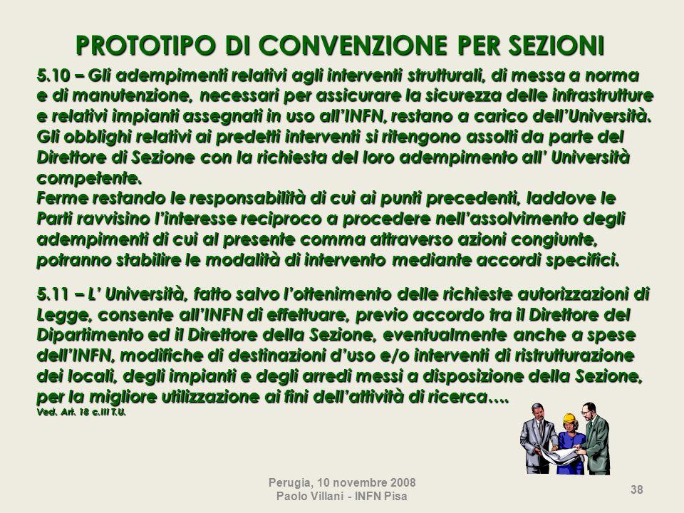 Perugia, 10 novembre 2008 Paolo Villani - INFN Pisa 38 5.10 – Gli adempimenti relativi agli interventi strutturali, di messa a norma e di manutenzione, necessari per assicurare la sicurezza delle infrastrutture e relativi impianti assegnati in uso all'INFN, restano a carico dell'Università.