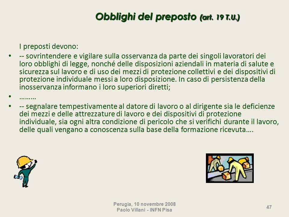 Obblighi del preposto (art.
