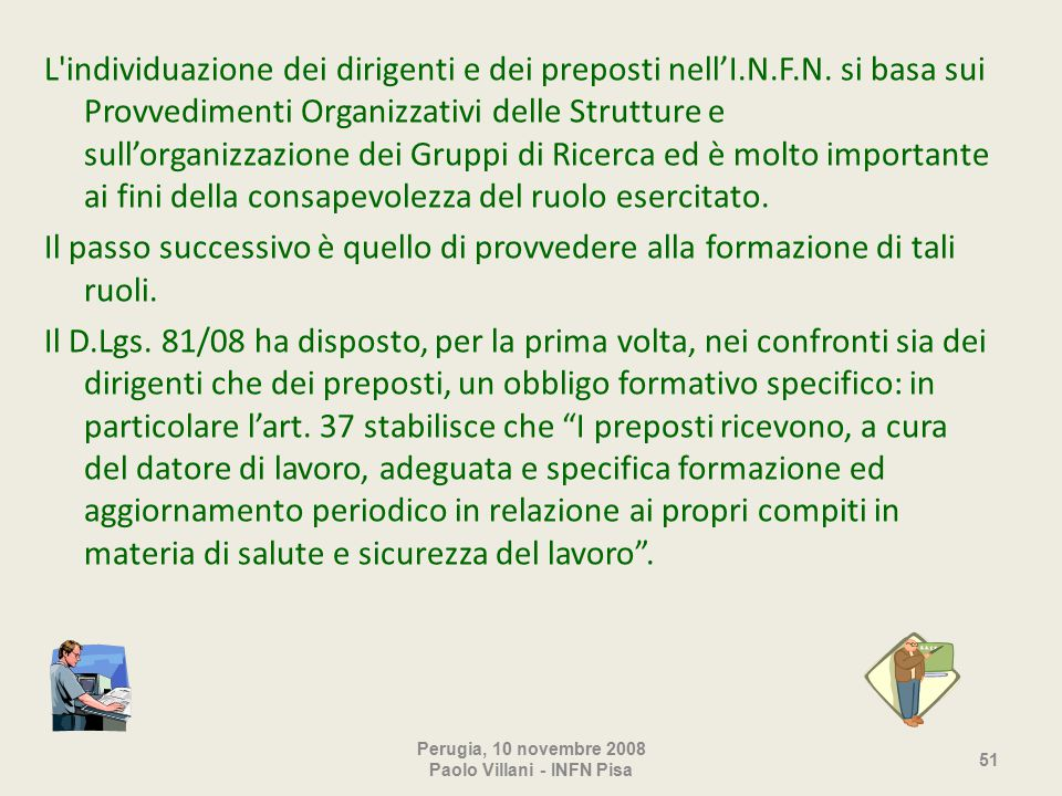 L individuazione dei dirigenti e dei preposti nell'I.N.F.N.