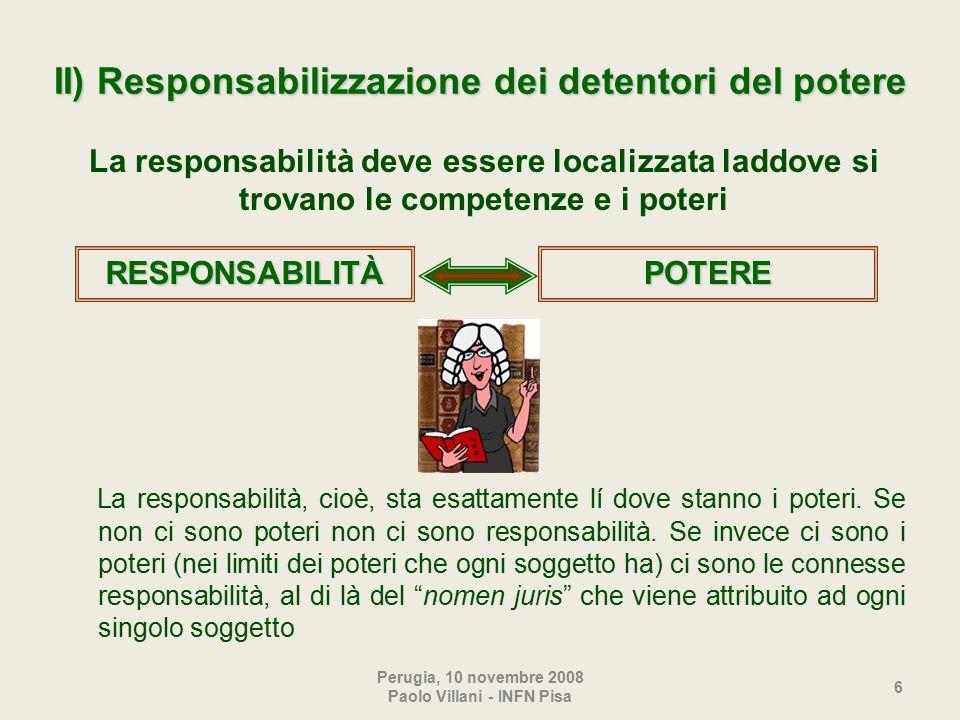 Perugia, 10 novembre 2008 Paolo Villani - INFN Pisa 6 II) Responsabilizzazione dei detentori del potere La responsabilità, cioè, sta esattamente lí dove stanno i poteri.
