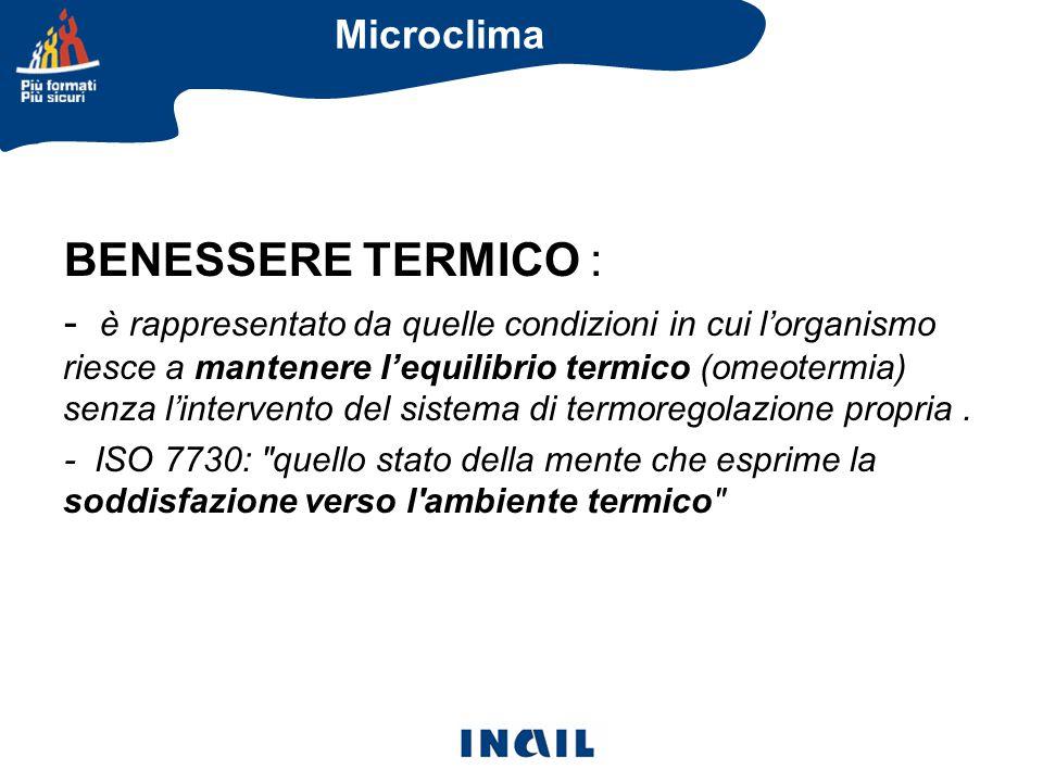 BENESSERE TERMICO : - è rappresentato da quelle condizioni in cui l'organismo riesce a mantenere l'equilibrio termico (omeotermia) senza l'intervento del sistema di termoregolazione propria.