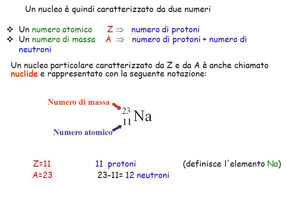  Un numero atomico Z  numero di protoni  Un numero di massa A  numero di protoni + numero di neutroni Z=11 11 protoni (definisce l'elemento Na) A=