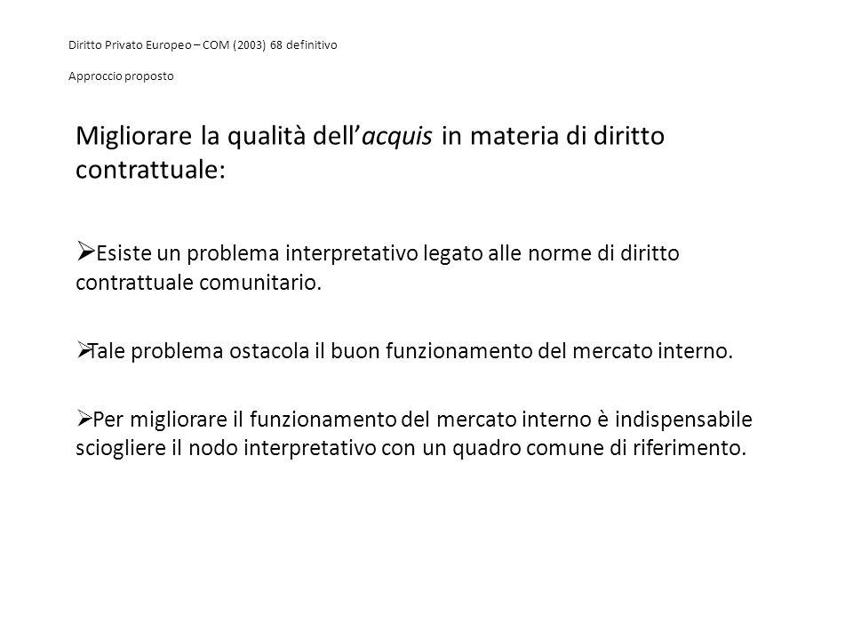 Diritto Privato Europeo – COM (2003) 68 definitivo Approccio proposto Migliorare la qualità dell'acquis in materia di diritto contrattuale:  Esiste u