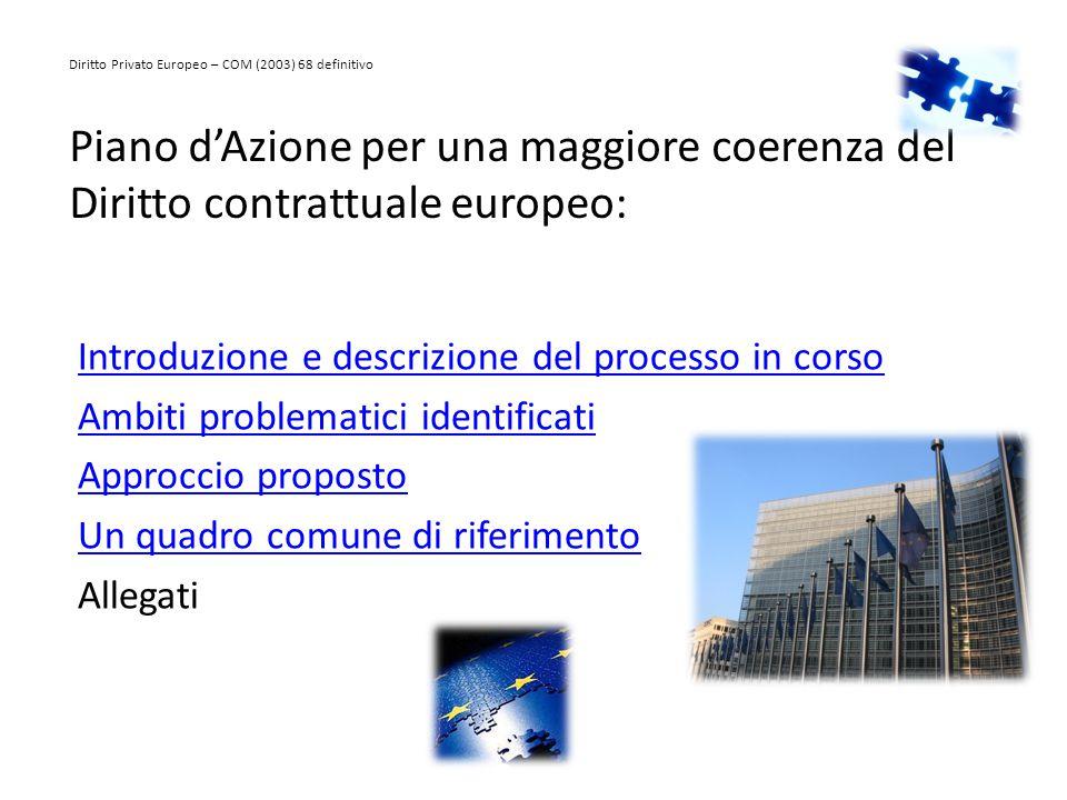 Piano d'Azione per una maggiore coerenza del Diritto contrattuale europeo: Introduzione e descrizione del processo in corso Ambiti problematici identi