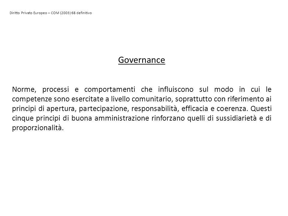 Diritto Privato Europeo – COM (2003) 68 definitivo Governance Norme, processi e comportamenti che influiscono sul modo in cui le competenze sono eserc