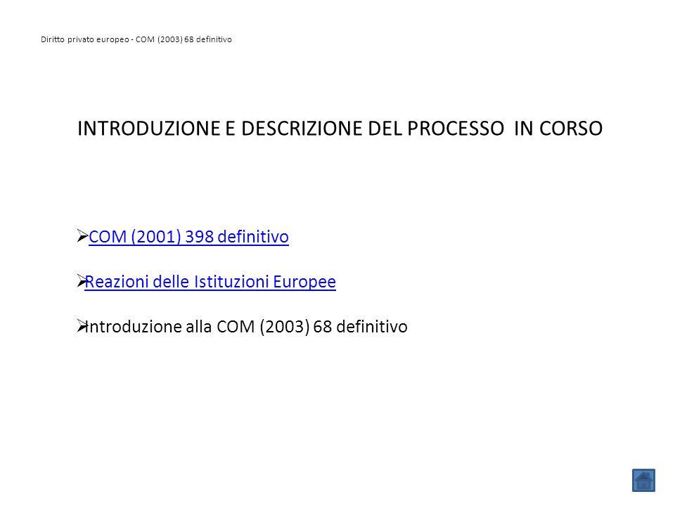 Diritto privato europeo - COM (2003) 68 definitivo INTRODUZIONE E DESCRIZIONE DEL PROCESSO IN CORSO  COM (2001) 398 definitivoCOM (2001) 398 definiti