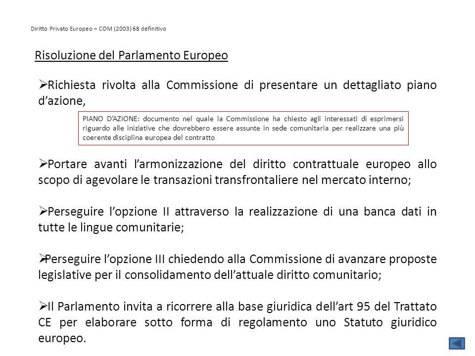 Diritto Privato Europeo – COM (2003) 68 definitivo Risoluzione del Parlamento Europeo  Richiesta rivolta alla Commissione di presentare un dettagliat