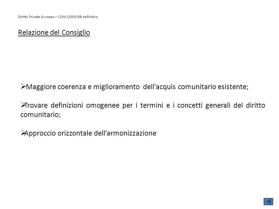 Diritto Privato Europeo – COM (2003) 68 definitivo Relazione del Consiglio  Maggiore coerenza e miglioramento dell'acquis comunitario esistente;  Tr