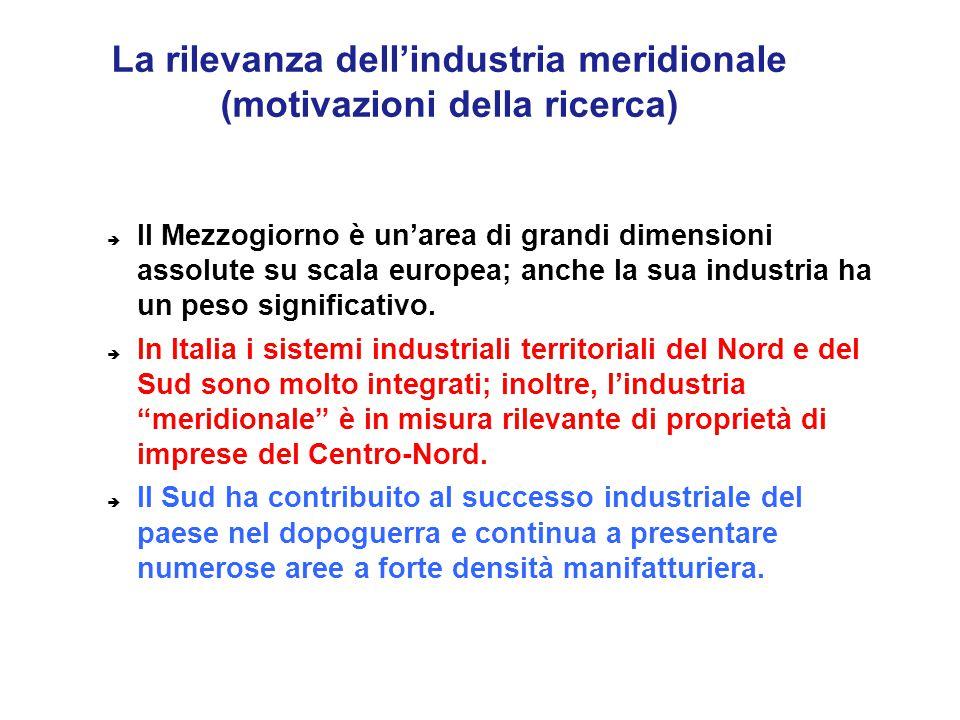 La rilevanza dell'industria meridionale (motivazioni della ricerca)  Il Mezzogiorno è un'area di grandi dimensioni assolute su scala europea; anche l