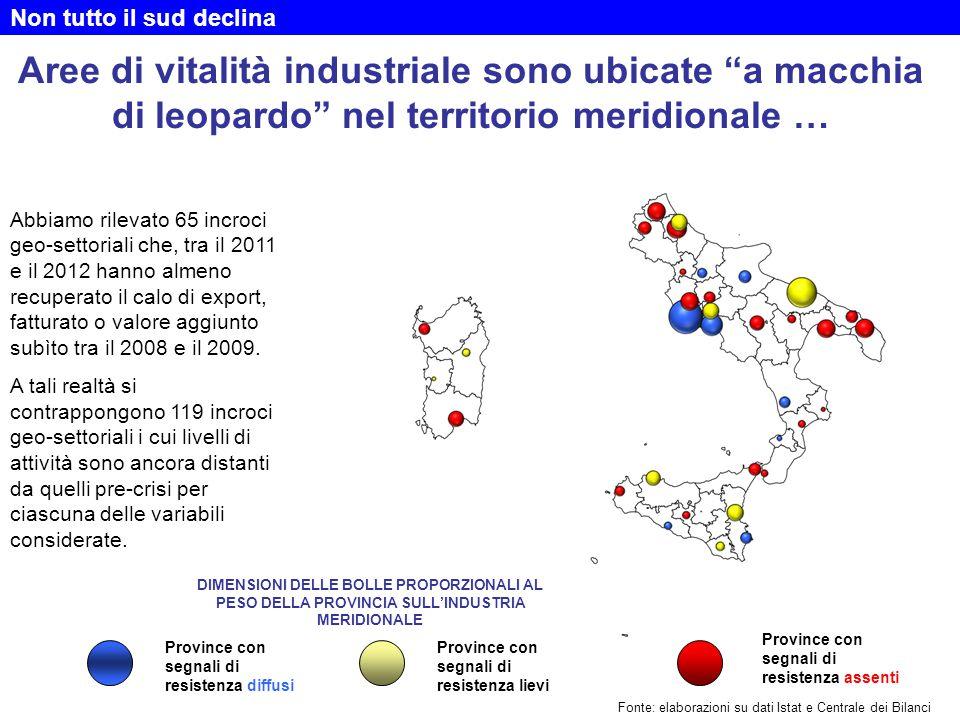 """Aree di vitalità industriale sono ubicate """"a macchia di leopardo"""" nel territorio meridionale … Abbiamo rilevato 65 incroci geo-settoriali che, tra il"""
