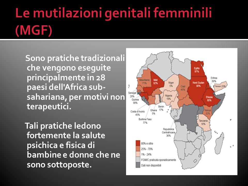 Sono pratiche tradizionali che vengono eseguite principalmente in 28 paesi dell'Africa sub- sahariana, per motivi non terapeutici. Tali pratiche ledon