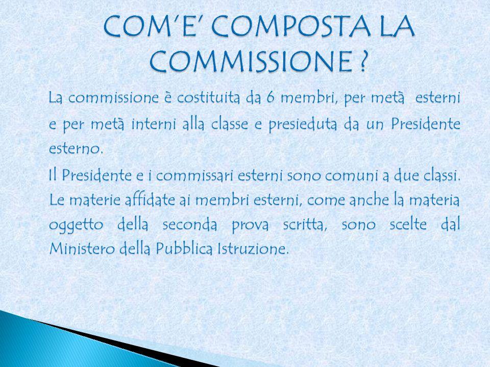 La commissione è costituita da 6 membri, per metà esterni e per metà interni alla classe e presieduta da un Presidente esterno.
