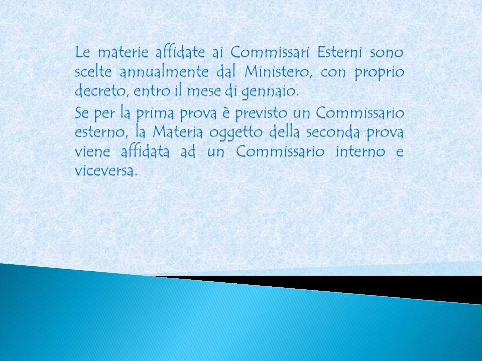 Le materie affidate ai Commissari Esterni sono scelte annualmente dal Ministero, con proprio decreto, entro il mese di gennaio.