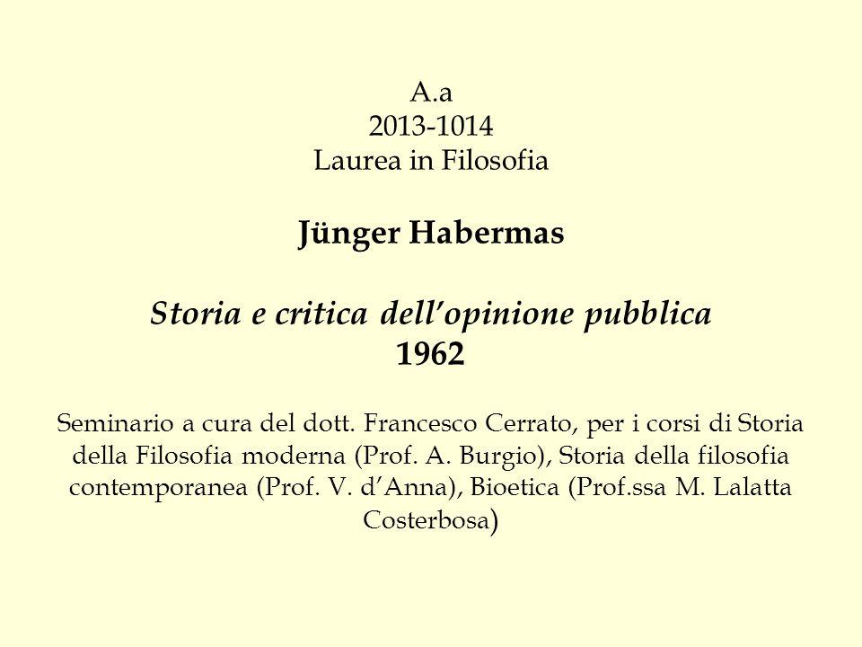 A.a 2013-1014 Laurea in Filosofia Jünger Habermas Storia e critica dell'opinione pubblica 1962 Seminario a cura del dott. Francesco Cerrato, per i cor