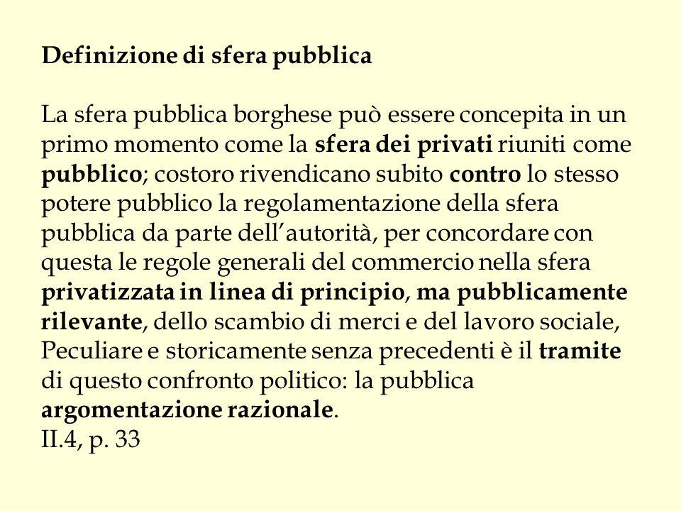 Definizione di sfera pubblica La sfera pubblica borghese può essere concepita in un primo momento come la sfera dei privati riuniti come pubblico ; co