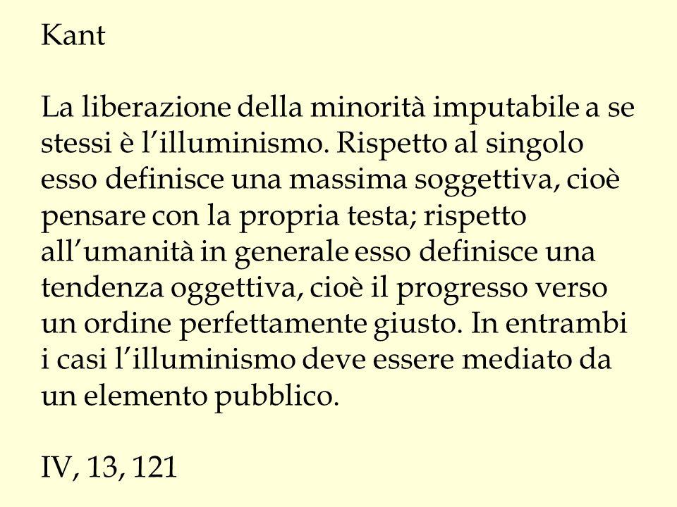 Kant La liberazione della minorità imputabile a se stessi è l'illuminismo. Rispetto al singolo esso definisce una massima soggettiva, cioè pensare con