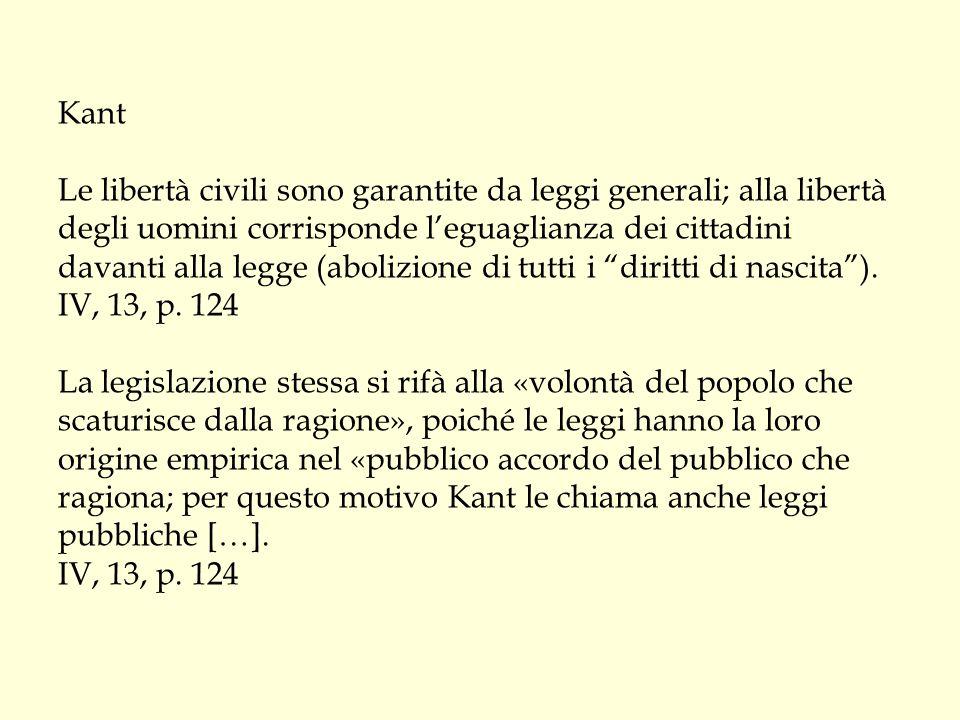 Kant Le libertà civili sono garantite da leggi generali; alla libertà degli uomini corrisponde l'eguaglianza dei cittadini davanti alla legge (abolizi