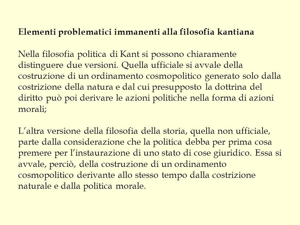 Elementi problematici immanenti alla filosofia kantiana Nella filosofia politica di Kant si possono chiaramente distinguere due versioni. Quella uffic